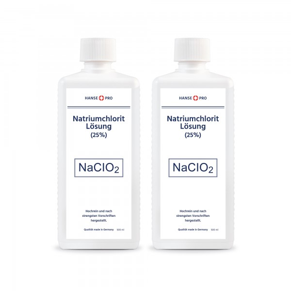 Hansepro Natriumchlorit Lösung (25%), 500 ml 2er-Set